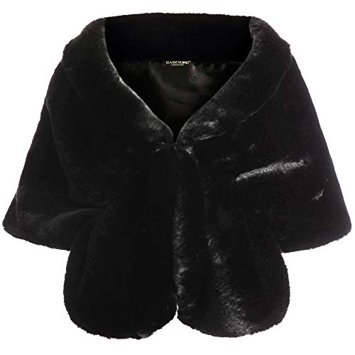 Jacket Womens Fancy (BABEYOND Womens Faux Fur Collar Shawl Faux Fur Scarf Wrap Evening Cape for Winter Coat (Black))