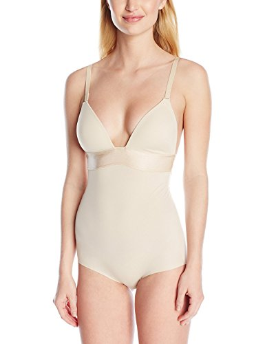 Flexees Women's Maidenform Shapewear Endlessly Smooth Plunge Bodybriefer, Latte Lift, 36D