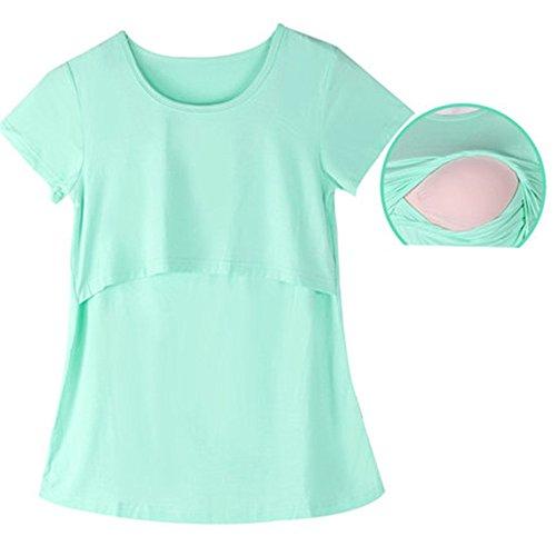 L'Allattamento Girocollo Donna Camicie Top Popolare Estive Maglietta Doppi Breastfeeding T Basic Corta Manica Green Strati Comoda Casual Loose ZONVENL Shirt Gravidanza x06vgTd0qw