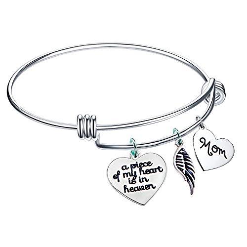 Paris Selection A Piece of My Heart is in Heaven Mom Memories Expandable Bangle Bracelet Sympathy ()