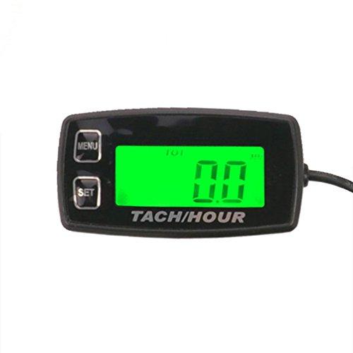 (FOUNDOWN-035R Engine Hour Meter Inductive Tachometer Gauge Backlit Digital Resettable for 2/4 Stroke Engines Motorcycle Marine Glider ATV Snow Blower Lawn Mower Jet Ski Pit Bike)