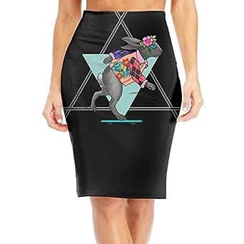 Baodaoorunning Racing Skid Bunny Rabbit Flower Slim Vintage Pencil Skirts For Women High Waist Pencil Skirt Short Fitted Mini Skirt Bundle Packs