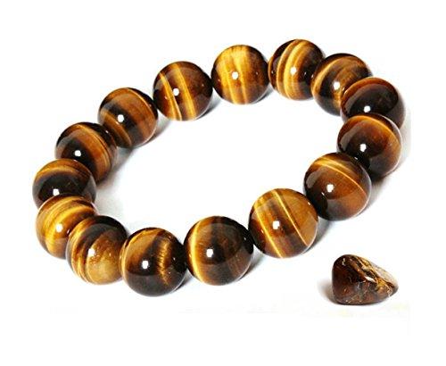 Onlineb2c Women's & Men's Bracelet Tiger Eye Bracelet Stretch Bracelet Good Luck Bracelet Beads 6mm-18mm (14mm)