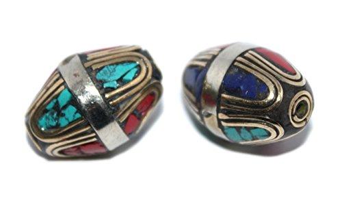 (Turquoise Beads Coral Beads Handmade Beads Nepalese Beads Tibetan Beads Lapis Beads B275)