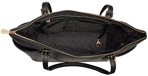 90722d1ce62cf5 Michael Kors Women's Jet Set Large Top-Zip Saffiano Leather Tote Bag, Black,