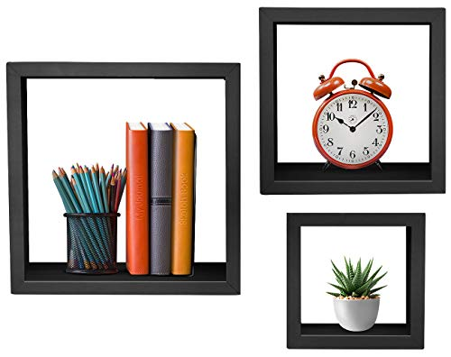 "Box Decor Shadow Wall (Sorbus Floating Shelves — Hanging Wall Shelves Decoration — Perfect Trophy Display, Photo Frames (9""x 7""x5"", Black))"