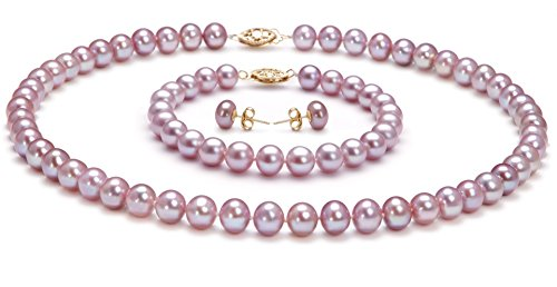 PearlsOnly - Lavender 7-8mm AA Quality Freshwater Cultured Pearl Set-16 in Chocker length by PearlsOnly (Image #1)