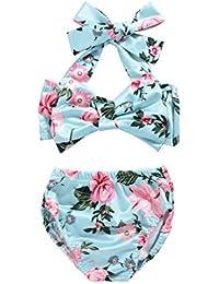 bf4f5075a05b9 2Pcs Baby Girls Halter Bowknot Tube Top+Floral Short Bottoms Bikini Bathing  Suit Swinwear