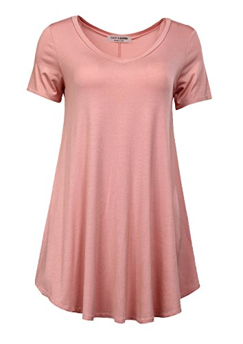 Daisy Queen Womens Short Sleeve V neck Comfy Loose Fit Swing Tunic,A Dust Pink,XXX-Large