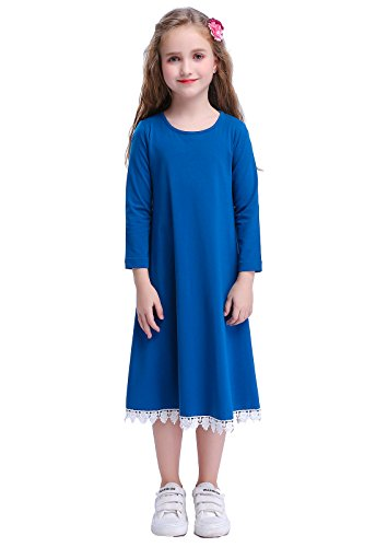 Happy Rose Girls Dress Peacock Blue with lace T Shirt 10 ()