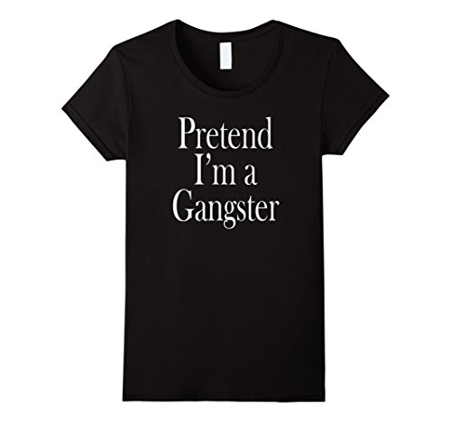 Lady Gangster (Womens Gangster Costume T-Shirt for the Last Minute Party Large Black)
