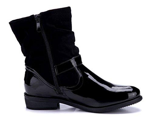 Schuhtempel24 Damen Schuhe Klassische Stiefeletten Stiefel Boots Flach Schnalle 3 cm Schwarz