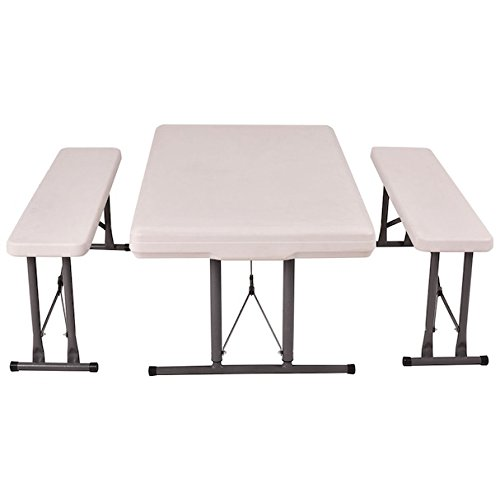 Folding Table and Benches Set Chair Seat Foldable Outdoor Furniture Patio Picnic Camping Hiking Tables Waterproof Height Adjustable Iron Telescopic Legs