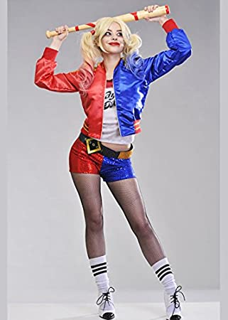 Ladies Kids Harley Quinn Suicide Squad Halloween Cosplay Party Bomber Jacket UK