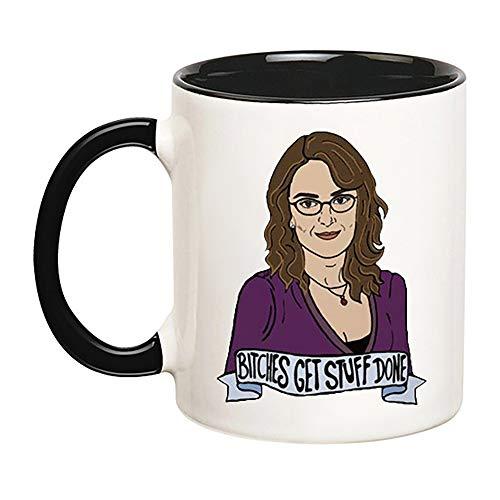 KeepRolling - Tina Fey Mug (SNL, 30 Rock, Liz Lemon, Jack Donaghy, Recreation, Mean Girls, Leslie Knope, Tracey Morgan, Jenna, Parks and Rec), 11oz Ceramic Coffee Novelty Mug/Tea Cup, Mug Gift ()