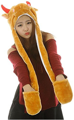 [Bettyhome Novelty Animal HAT Cosplay CAP - Unisex Fit Adult & Children- Soft Warm Headwraps Headwear with Mittens (brown] (Cow Head Hat Adult)