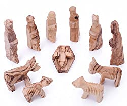 Zuluf Olive Wood Children's Nativity Set 3 inches - 12 Pieces Set