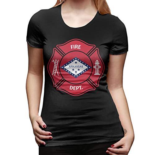 Women's State Arkansas AR Firefighter Dept Short Sleeve Crew Neck Cotton Casual Graphic T-Shirt Tee Black