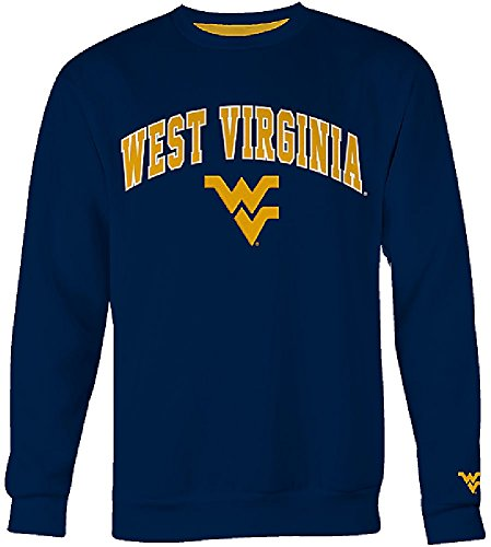 West Virginia Mountaineers Mens Blue Embroidered College Classic Crewneck Sweatshirt (S=36) ()