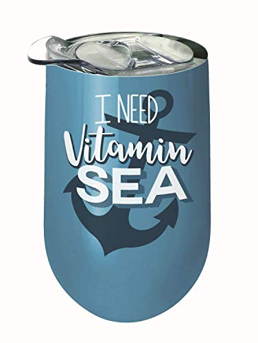 Spoontiques 16938 I Need Vitamin Sea Stainless Wine Tumbler Blue