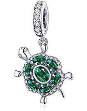Reiko Turtle 925 Sterling Silver Bead Charms,Dangle Pendant for Pandora&Chamilia Bracelet or Necklace