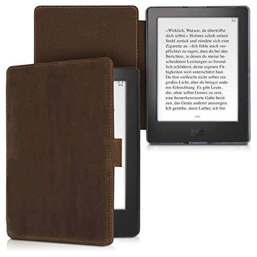 - kalibri Case for Kobo Aura H2O Edition 2 - Book Style Real Leather Protective e-Reader Cover Folio Case - Brown