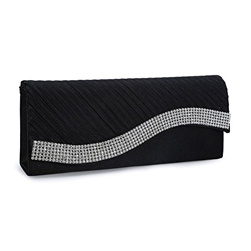 Black Bag Satin Wedding Purse Pleated Kaever Womens Rhinestone Evening Fashion Clutch qwHXnpv