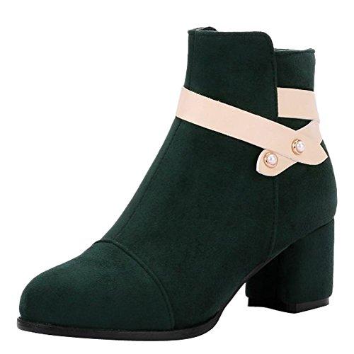 Mee Shoes Damen Blockabsatz Reißverschluss mit Perlen Stiefel Dunkelgrün