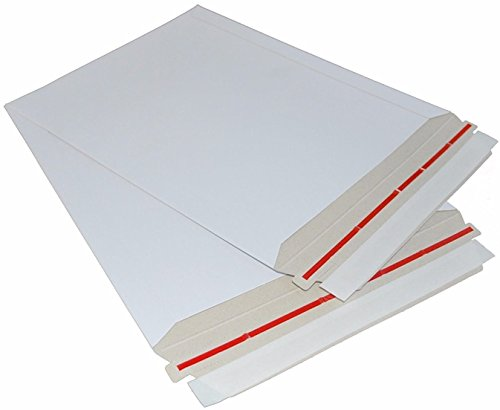 25 Pack Rigid 11 x 13.5 Paperboard mailers. Stay flat envelopes. White photography mailer. Large size. No bend documents, photo, prints. Peel and Seal & Self sealing. Rigi-Strip. (Chipboard Album Edge)