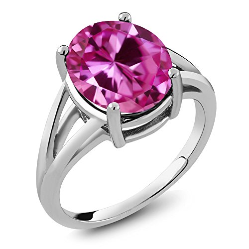 Pink Sapphire Set (6.00 Ct Oval Pink Created Sapphire 925 Sterling Silver Ring)