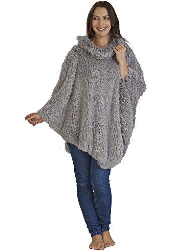 Slenderella Loungewear Mongolian Faux Fur Poncho- Silver Grey PO02361