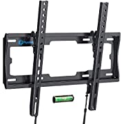 #LightningDeal Tilt TV Wall Mount Bracket Low Profile for Most 23-55 Inch LED LCD OLED Plasma Flat Curved Screen TVs, 8 Degrees Tilting for Anti-Glaring, Max VESA 400x400mm and Holds up to 99lbs by Pipishell