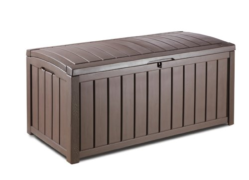Keter Glenwood Plastic Deck Storage Container Box Outdoor Patio Furniture 101 Gal, Brown (Container Cushion Patio Storage)