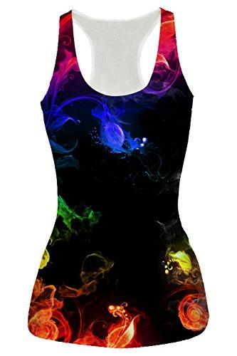 (RAISEVERN Women's Racerback Yoga Shirt Summer Sleeveless Casual Colorful Smocked Printed Tank Tops)