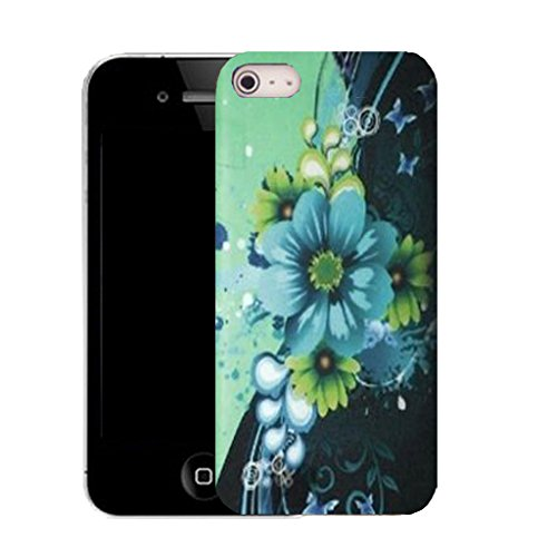 Mobile Case Mate IPhone 4 clip on Silicone Coque couverture case cover Pare-chocs + STYLET - blue motto pattern (SILICON)