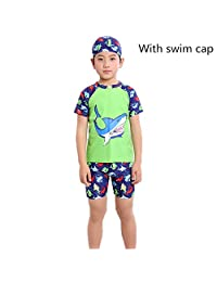 Monvecle Boys' 3-Pieces Short Sleeve Sun Protective Rashgurad Swim Cap Set UPF 50+