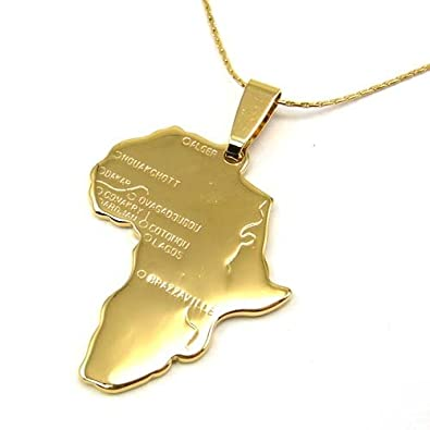 Amazon gold africa necklace pendant 55 cm adjustable chain gold africa necklace pendant 55 cm adjustable chain chain aloadofball Image collections