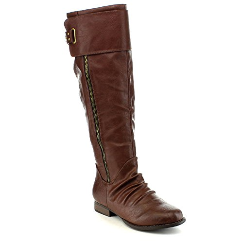 Anna Womens Juno-8 Fashion Buckle Side Zip Stud Combat Riding Knee High Flat Boot Brown sYX1T