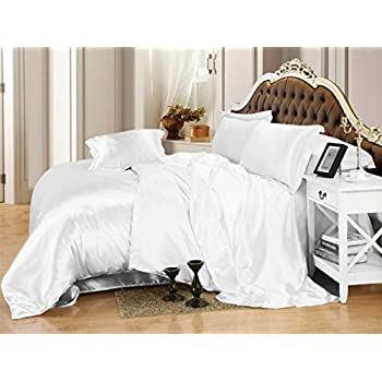 Image of 600TC 1 Piece 500GSM Fiber Fill Comforter Crib/Baby Bed Size White Solid 100% Silky Satin - by AP Beddings Home and Kitchen