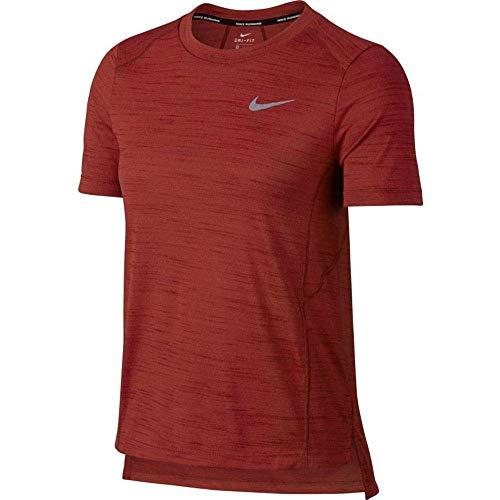 (Nike Women's Slub Short Sleeve Running Top (Medium, Dune Red))