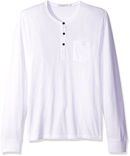 Alternative Men's Heathered Classic Henley with Pocket, White, X-Large