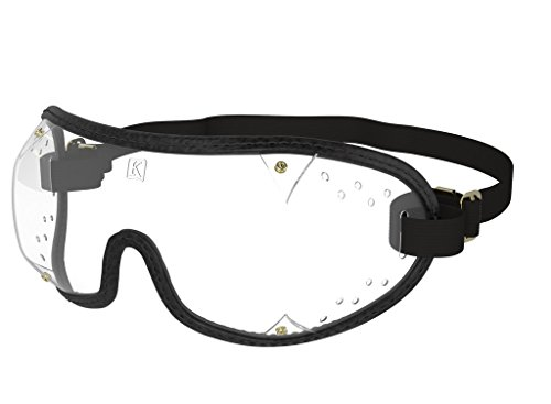 Kroops Boogie Black Sports Skydiving Goggle with Clear Ventilated Lens