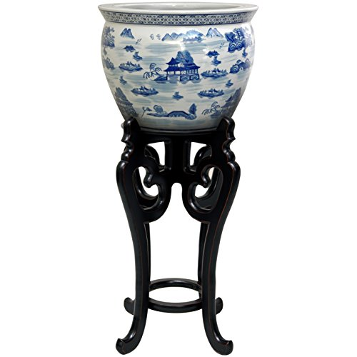 """Oriental Furniture 22"""" Tall Rosewood Fishbowl Stand - Size 10.5"""""""