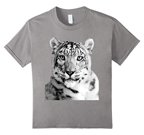 Kids Snow Leopard T-Shirt 8 Slate