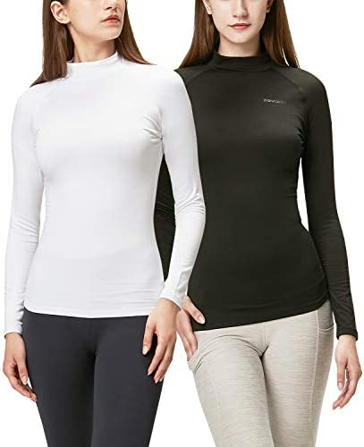 DEVOPS Women's 2 Pack Thermal Turtle Long Sleeve Shirts Compression Baselayer Tops
