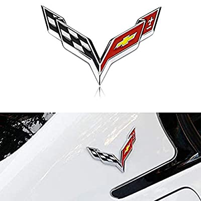 Bearfire Rear and Front Bumper Emblem for Chevrolet Corvette C6 2005 2006 2007 2008 2009 2010 2011 2012 Inserts Not Decals color1 (Front,Rear andside Bumper emblem color1): Automotive
