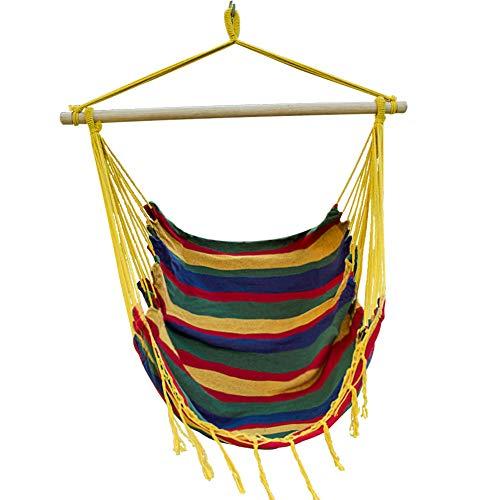 Cheap Lazy Daze Hammocks Canvas Hanging Hammock Swing Chair Seat with Wood Spreader Bar (Tropical Stripe)