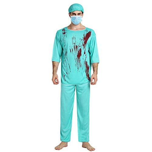 Alvivi Unisex Adult Surgery Doctor Bloody Nurse Outfits Halloween Cosplay Scary Scrub Costume Blue Mens One Size