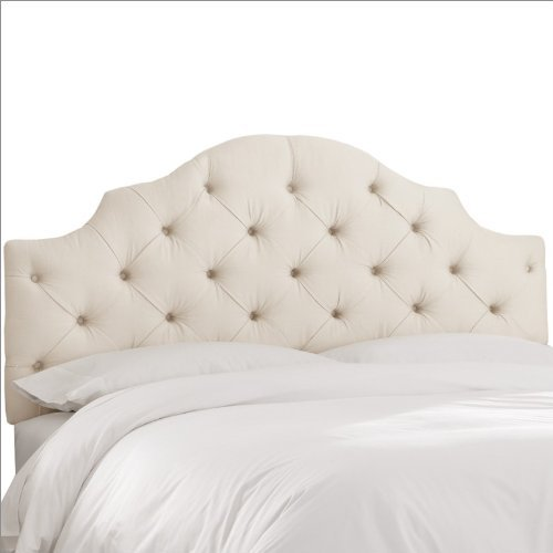 Skyline Furniture Tufted Headboard in Upholstered Shantung Queen Pearl