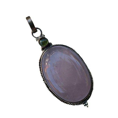 The Castle Gems Women's Handmade Lavender Jade 925 Sterling Silver Pendant (Handmade 925 Sterling Silver (Sterling Silver Lavender Jade Necklace)